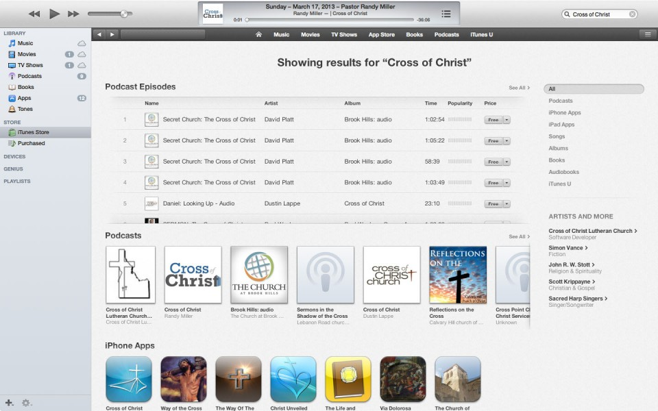 Cross of Christ Podcast in iTunes 1