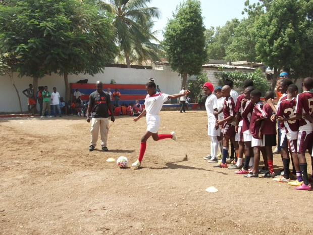 The group did their first soccer camp with the kids on Monday.