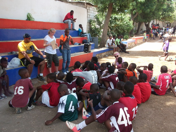 Sue Grunewald leads Jesus Time with the soccer camp attendees,