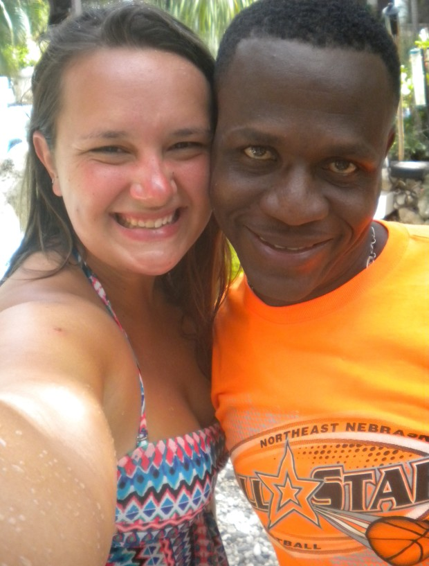 Emily Kubit with Venus, the wonderful driver for the Haiti Mission Team.